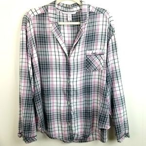 Victoria's Secret Plaid Flannel Pajama Top Button